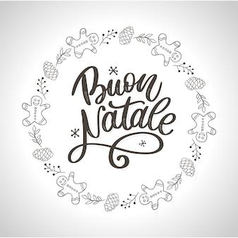 Buon natale. szablon kaligrafii wesołych świąt w języku włoskim. kartkę z życzeniami czarny typografii na białym tle. ilustracja ręcznie rysowane napis.