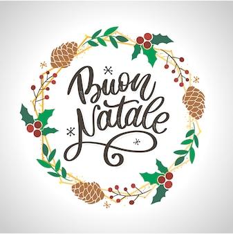 Buon natale. szablon kaligrafii wesołych świąt w języku włoskim. kartkę z życzeniami czarny typografii na białym tle. ilustracja wektorowa ręcznie rysowane napis.