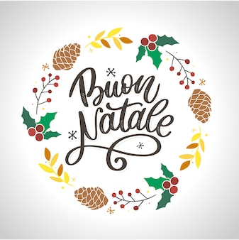 Buon natale. szablon kaligrafii wesołych świąt w języku włoskim.