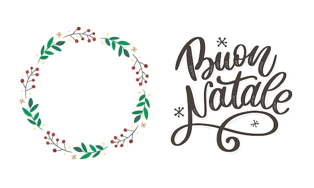 Buon natale. wesołych świąt szablon kaligrafii w języku włoskim