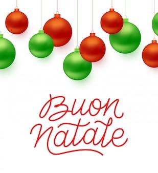Buon natale włoski wesołych świąt typografia