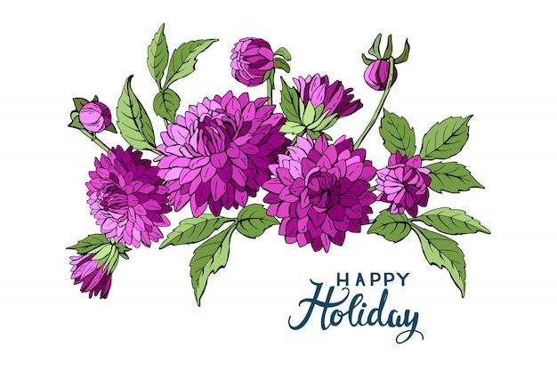Buquet fioletowych kwiatów dalii
