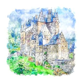 Burg eltz niemcy szkic akwarela ręcznie rysowane