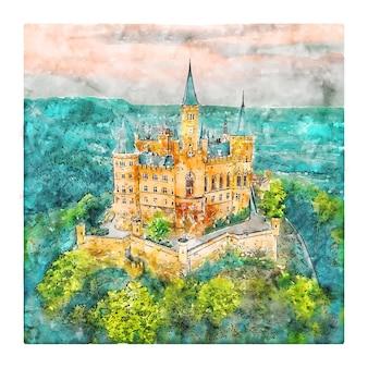 Burg hohenzollern niemcy szkic akwarela ilustracja