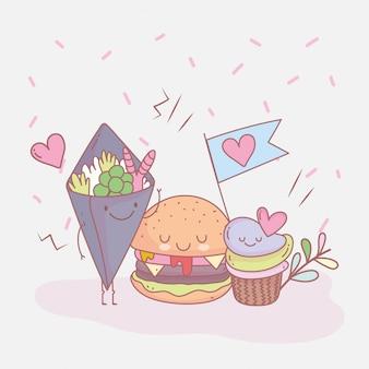 Burger babeczki i sałatki menu restauracji jedzenie słodkie