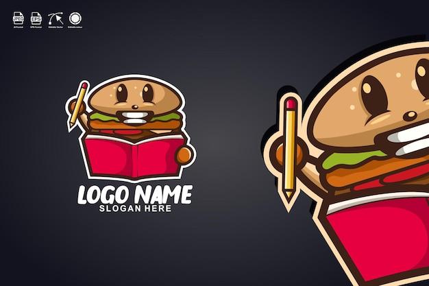 Burger czytać książkę ładny projekt logo maskotki