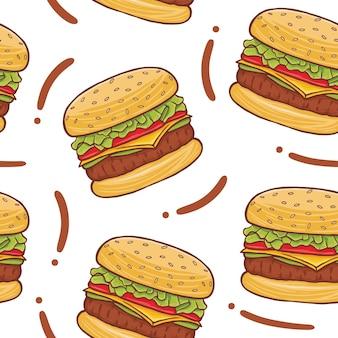Burger fast food seamless pattern w stylu płaskiej konstrukcji