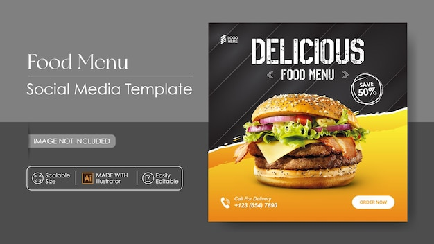 Burger food promocja w mediach społecznościowych i szablon projektu instagram