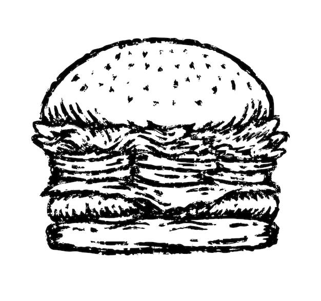 Burger ilustracja w stylu rysowania pędzlem