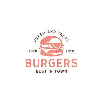 Burger logo vintage retro hipster znaczek projekt naklejki