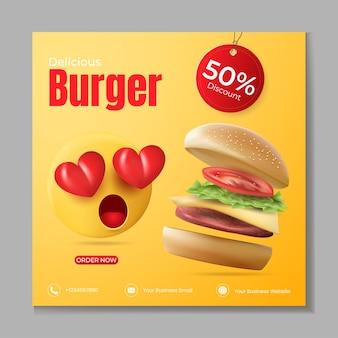 Burger lub fast food social media post szablon wektor z realistycznym burgerem