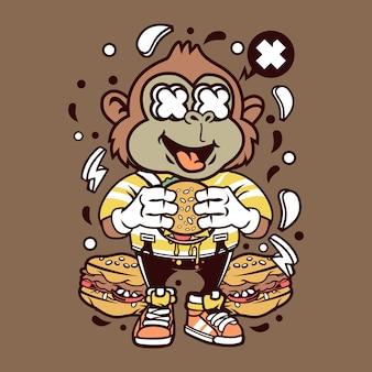 Burger monkey cartoon