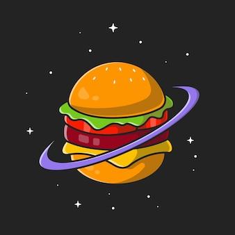 Burger planet. płaski styl kreskówki