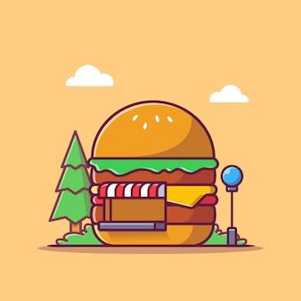 Burger shop ikona ilustracja kreskówka. koncepcja budynku ikona fast food na białym tle. płaski styl kreskówki