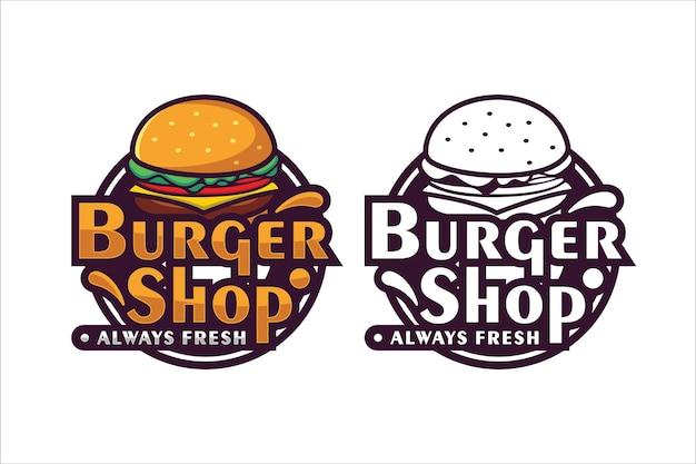 Burger shop zawsze świeże logo projektu