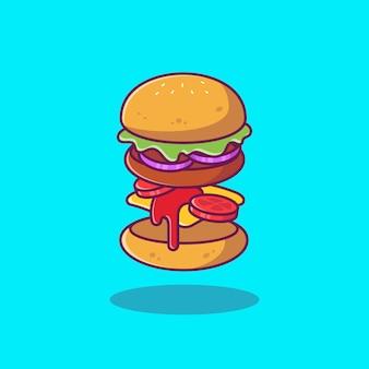 Burger składniki ikona cartoon ilustracja. jedzenie ikona grill koncepcja na białym tle. płaski styl kreskówek