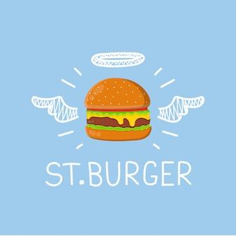 """Burger """"st. burger"""" z aureolą anioła i skrzydłami. mieszkanie i doodle ręcznie rysowane na białym tle ilustracja. cheeseburger, hamburger, kreatywne fast foody"""