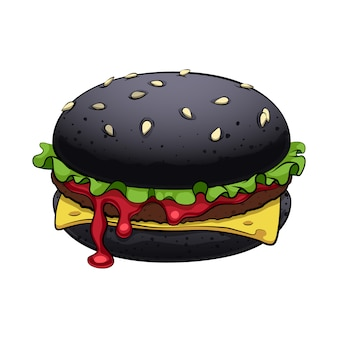 Burger z illsutration z czarnej bułki. modne fast foody.