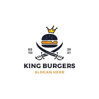 Burger z ilustracją projektu logo korony