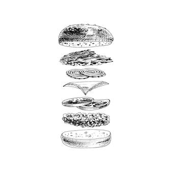 Burger z latającymi składnikami na białym tle. wektor rocznika kreskowania