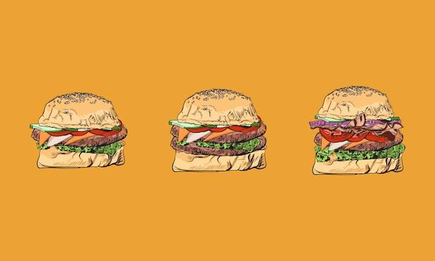 Burger. zestaw fast foodów. ręcznie rysowane kolorowe elementy. kolekcja przekąsek. niezdrowe jedzenie.