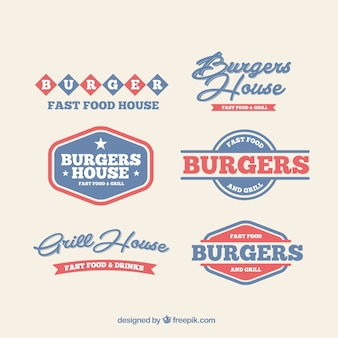 Burgery logos baru w kolorach niebieskim i czerwonym