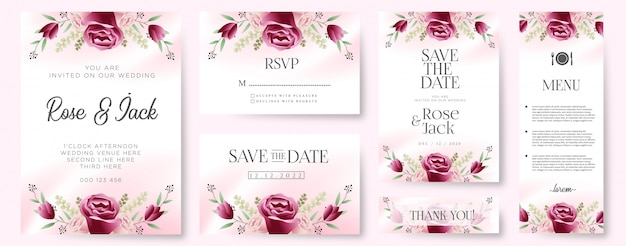 Burgundy blush floral botanical wedding invitation card