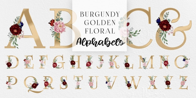 Burgundy i blush golden floral alphabets