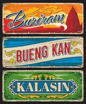 Buriram, bueng kan i kalasin tajlandia wektor tablice i znaki blaszane. tajskie podróżne zabytkowe talerze, naklejki i banery z pagodą górskiej świątyni, stupami i ornamentem z pieczęciami prowincjonalnymi