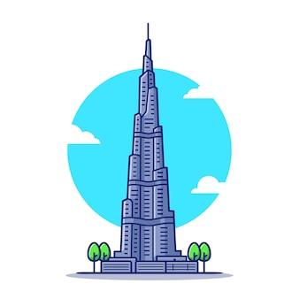 Burj khalifa kreskówka ikona ilustracja. słynny budynek podróży ikona koncepcja na białym tle. płaski styl kreskówki