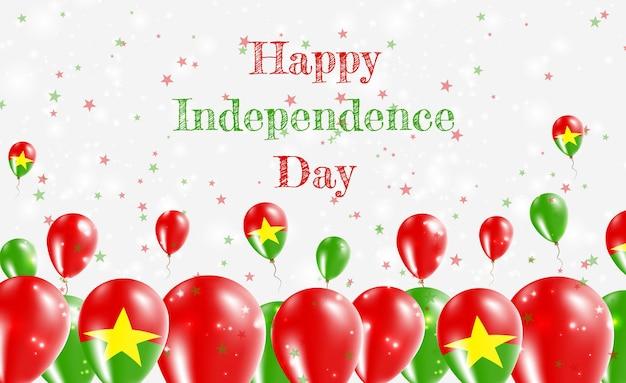 Burkina faso dzień niepodległości patriotyczny design. balony w barwach narodowych burkinabe. szczęśliwy dzień niepodległości wektor kartkę z życzeniami.