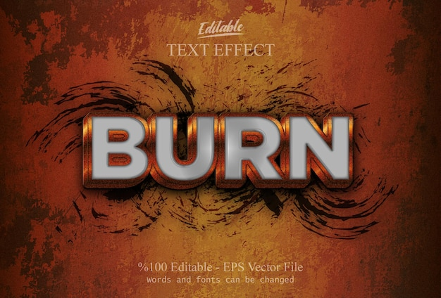 Burn edytowalny efekt tekstowy