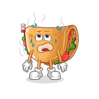 Burrito maskotka niskiego poziomu baterii. kreskówka