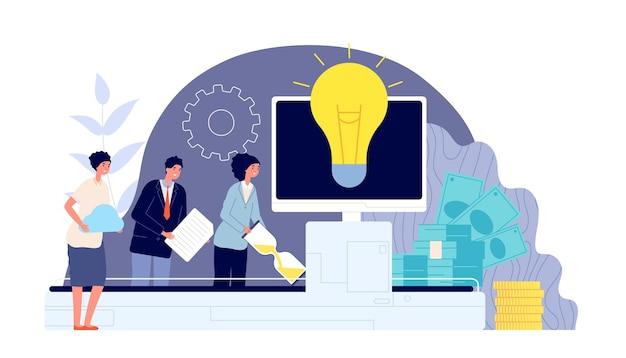 Burza mózgów i praca zespołowa. współpraca biznesowa, zespół angażujący tworzy pomysły, takie jak przenośnik. koncepcja wektor rozwiązania technologii innowacji. ilustracja zespołu biznesowego burza mózgów i współpraca