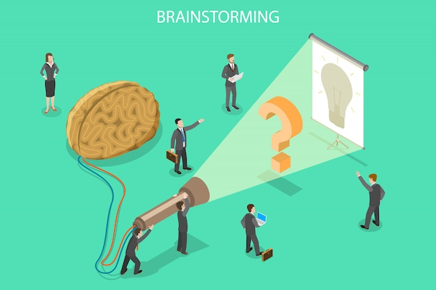 Burza mózgów, innowacji i rozwiązania izometryczny płaski wektor koncepcji.
