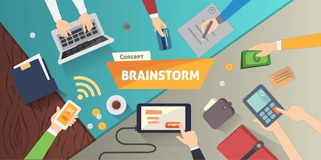 Burza mózgów kreatywnych koncepcji zespołu w. kolekcja ludzi biznesu. ręce z ilustracji gadżetów biznesowych