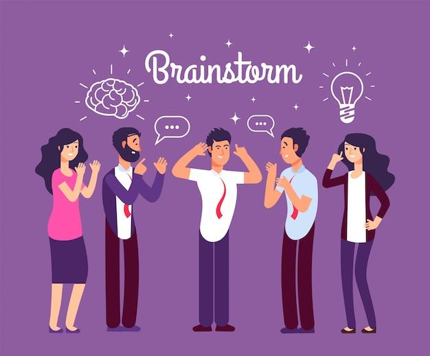 Burza mózgów ludzi. mężczyzna i kobieta rozmawiają i myślą.