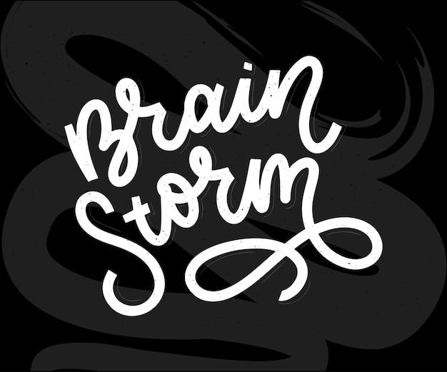 Burza mózgów napis wektor kaligrafia plakat typografii