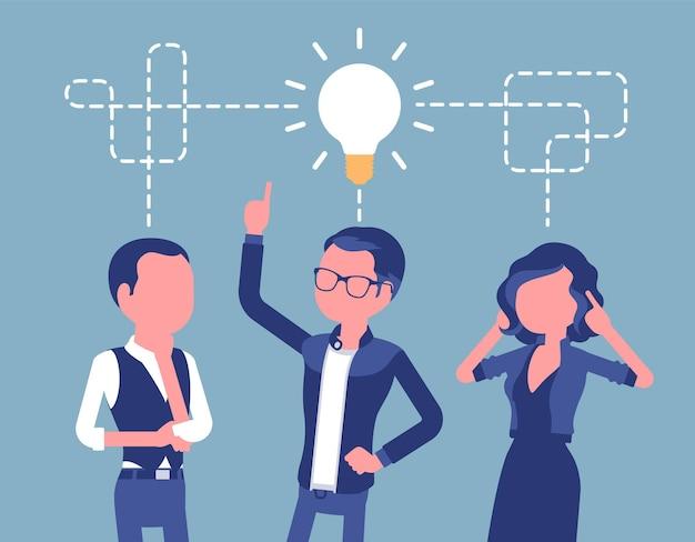 Burza mózgów w zespole biznesowym. młodzi ludzie w procesie generowania nowych pomysłów, opracowywania kreatywnych rozwiązań problemów projektowych, intensywnej dyskusji. ilustracja wektorowa z postaciami bez twarzy