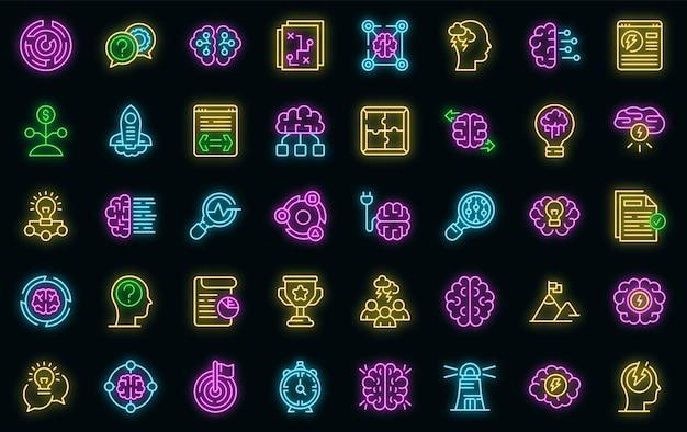 Burza mózgów zestaw ikon wektorowych neon