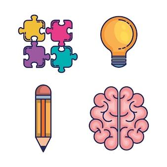 Burza mózgów zestaw ikon
