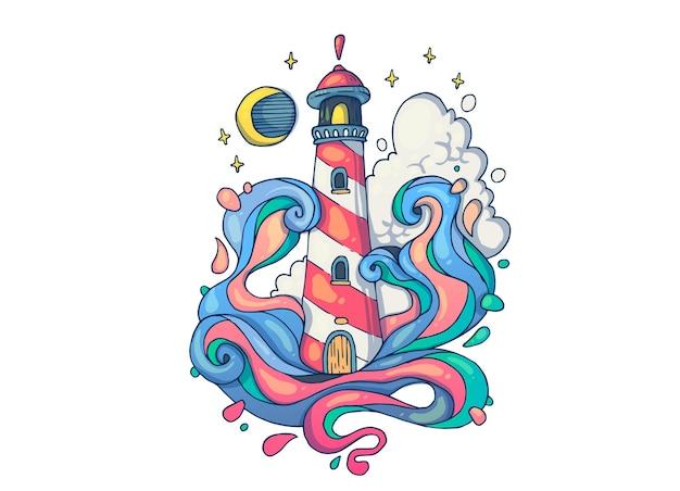 Burza na morzu w pobliżu latarni morskiej. ilustracja kreatywnych kreskówek.