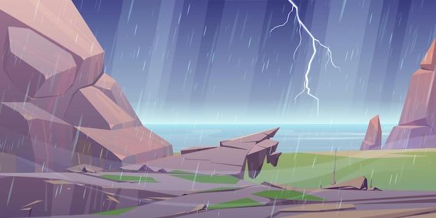 Burza na skalistym brzegu oceanu z deszczem błyskawica