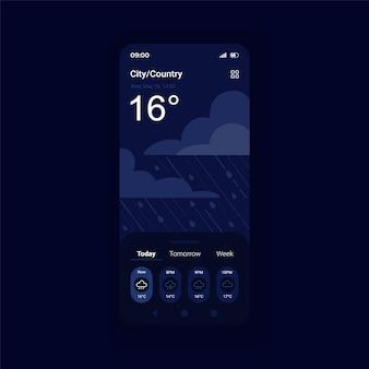 Burza prognoza pogody w trybie nocnym szablon wektor interfejsu smartfona
