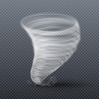 Burza tornado na białym tle. ilustracja wektorowa realistyczne twister. wir cyklonu tornado, huragan wirowego wiru