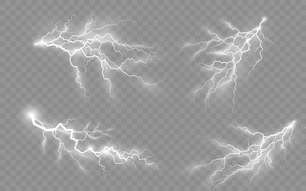 Burza z piorunami, efekt błyskawicy i oświetlenia, światło i blask, zestaw zamków błyskawicznych, symbol naturalnej siły lub magii, abstrakcja, elektryczność i eksplozja, ilustracja wektorowa, eps 10