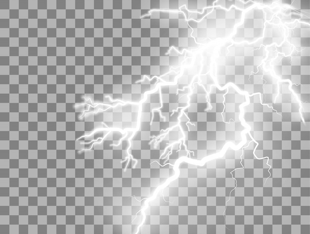 Burza z piorunami i błyskawica.