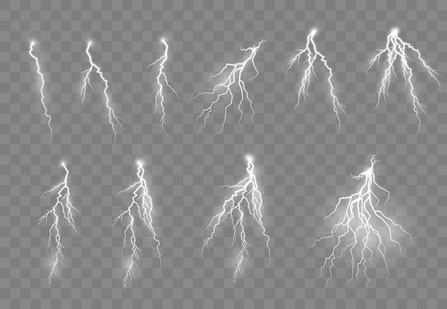 Burza z piorunami i błyskawice, jasne efekty świetlne.