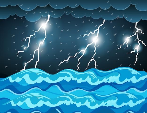 Burza z piorunami na morzu