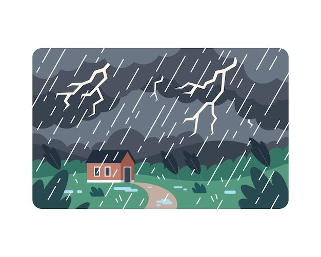 Burza z piorunami z żółtym piorunem uderza w dom